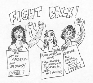 Drawing made for use in Arise for Social Justice publications and flyers, circa 1992. Artist unknown.