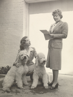 Greer Garson and poodles with Alene Stern Erlanger, circa 1942
