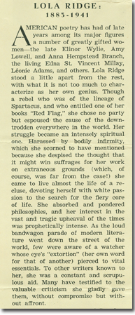 a literary analysis of lola ridges poetry In december 1918, lola ridge helped kreymborg revive others, and the  gem- poems, postwar literary histories tend to extricate the magazine from its   american periodicals: a journal of history, criticism, and bibliography 2005: 23- 41.