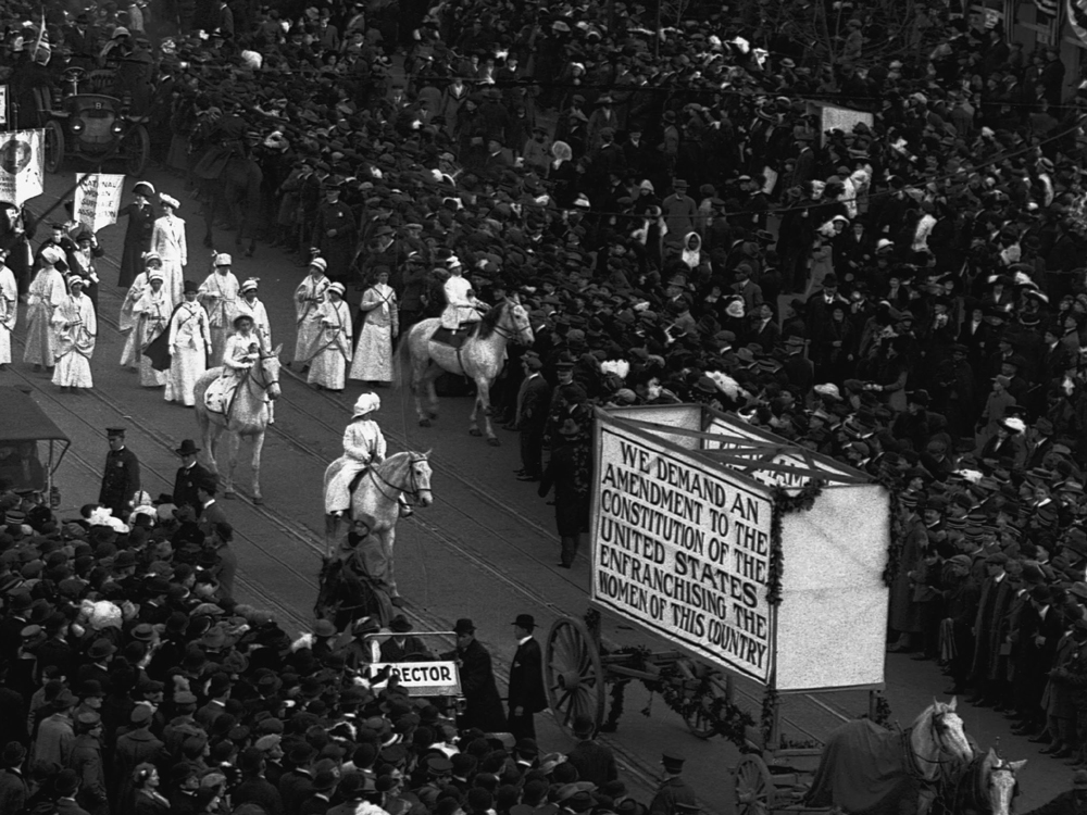 The day before Woodrow Wilson's 1913 inauguration, thousands of women paraded in Washington, D.C., to demand nationwide suffrage.