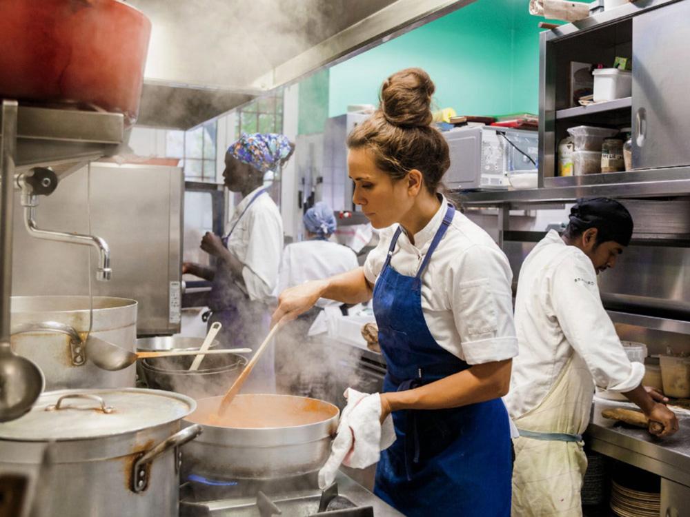 Alice Delcourt in her restaurant's kitchen
