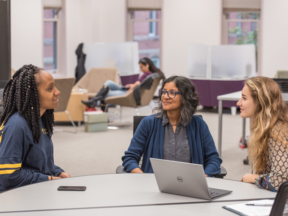 Professor Benita Jackson and two students