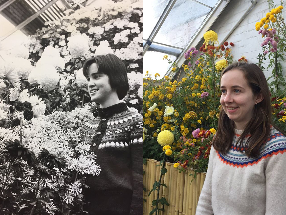 Betsey Donham recreating a black and white photo of a student at the mum show