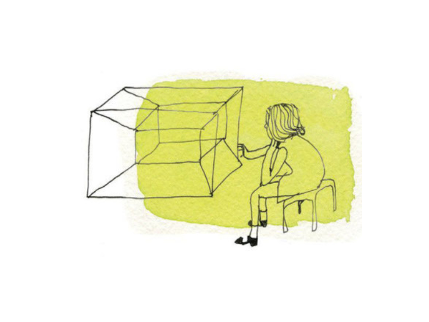 pen and ink of a child looking into a 3D cube