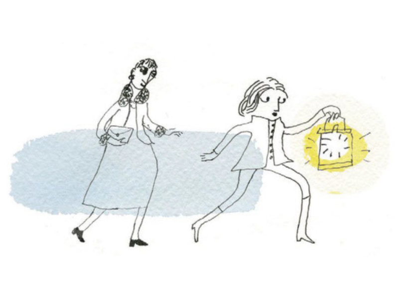 pen and ink of one person guiding another with a lantern