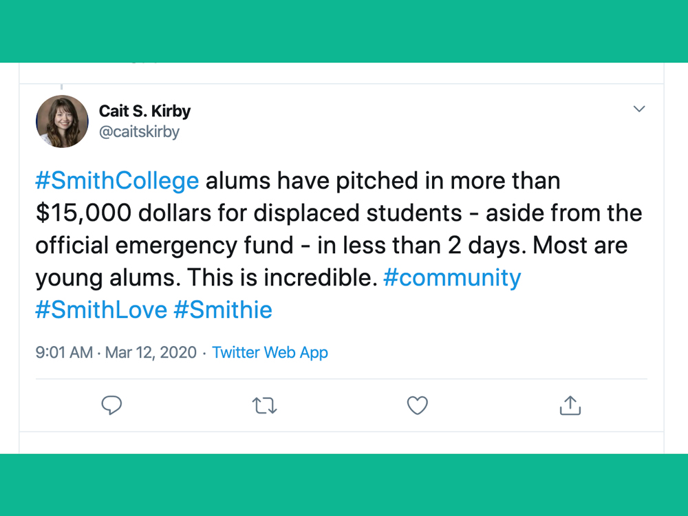 #SmithCollege alums have pitched in more than $15,000 dollars for displaced students - aside from the official emergency fund - in less than 2 days. Most are young alums. This is incredible. #community #SmithLove #Smithie