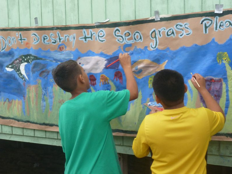 """kids painting """"Don't destroy the sea grass please"""""""