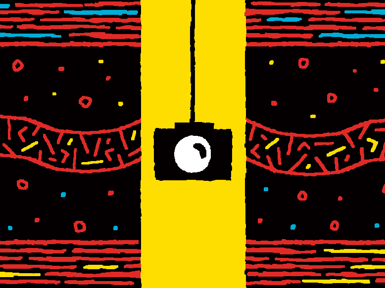 Illustration of a camera hanging down a yellow tunnel