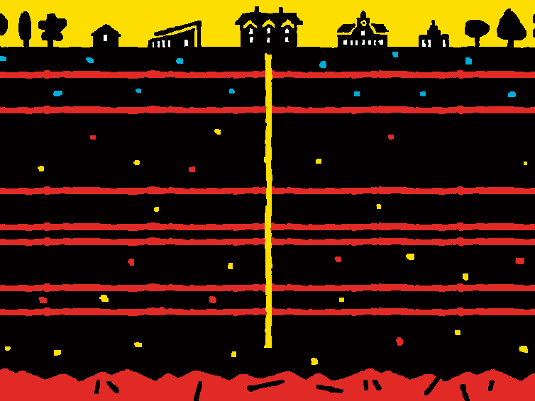 illustration of buildings on top of layers of sediment