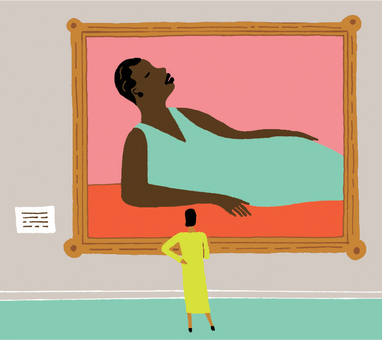 Illustration of a black woman looking at a painting of a black woman