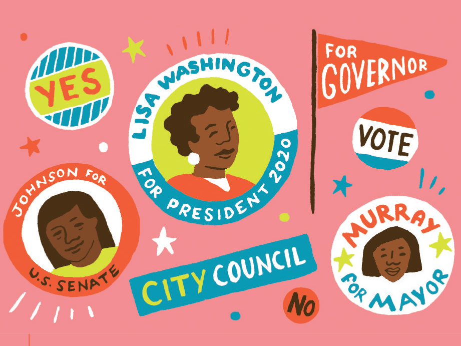 Illustration of political buttons and flags with black women in the center
