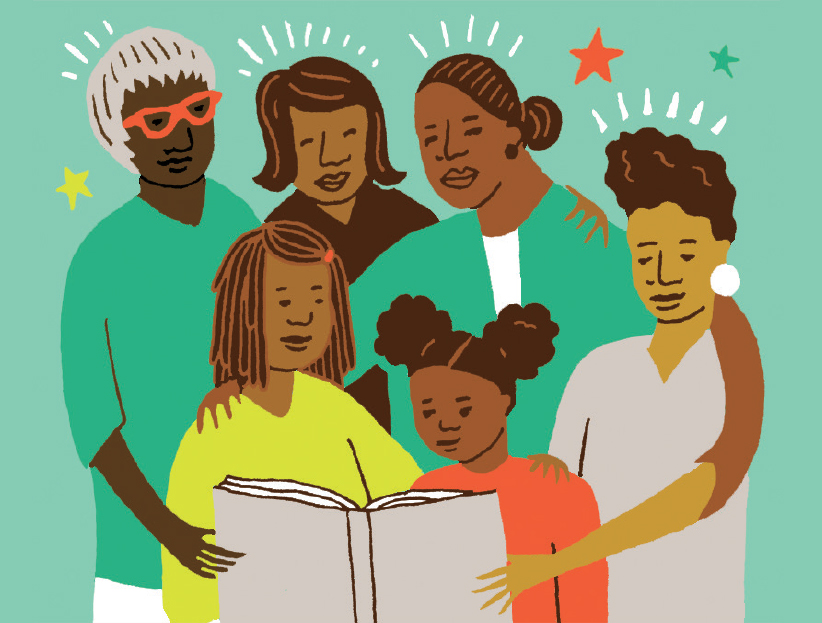 Illustration of a black family gathered together, reading