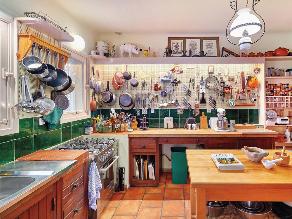 Julia Child's well-organized kitchen