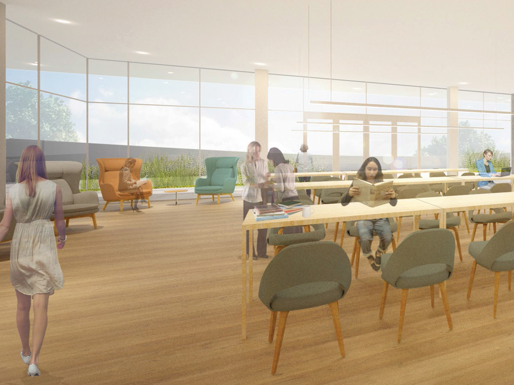 Architectural rendering of New Neilson top floor reading room