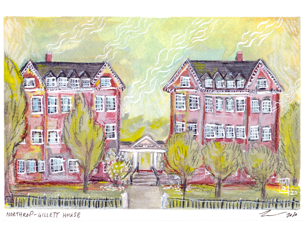 Northrop-Gilette House in colored pencil and paint