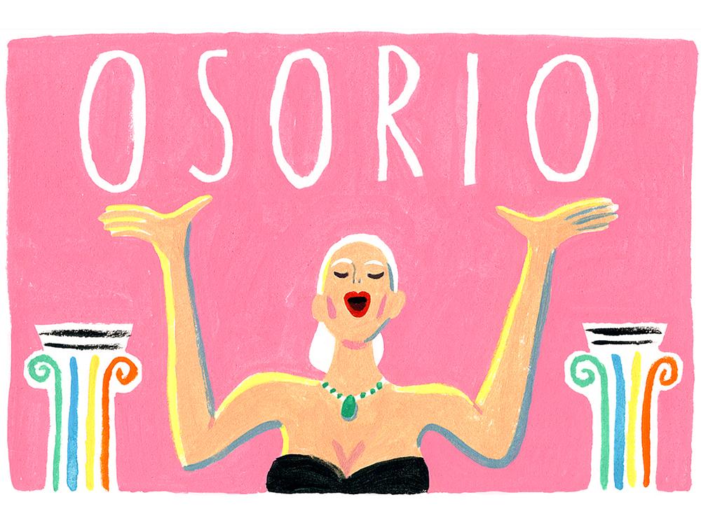 Drawing of an opera singer