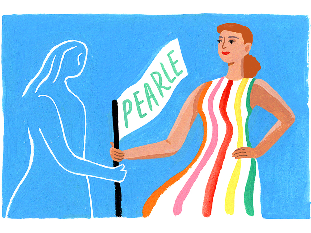 """Drawing of a woman with a flag that reads """"Pearle"""""""