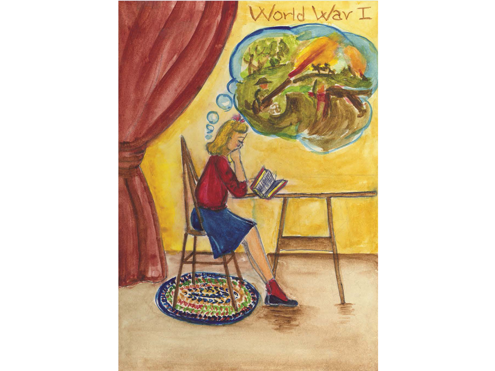 Drawing of a blonde girl reading at a table with a scene from World War I in a thought bubble