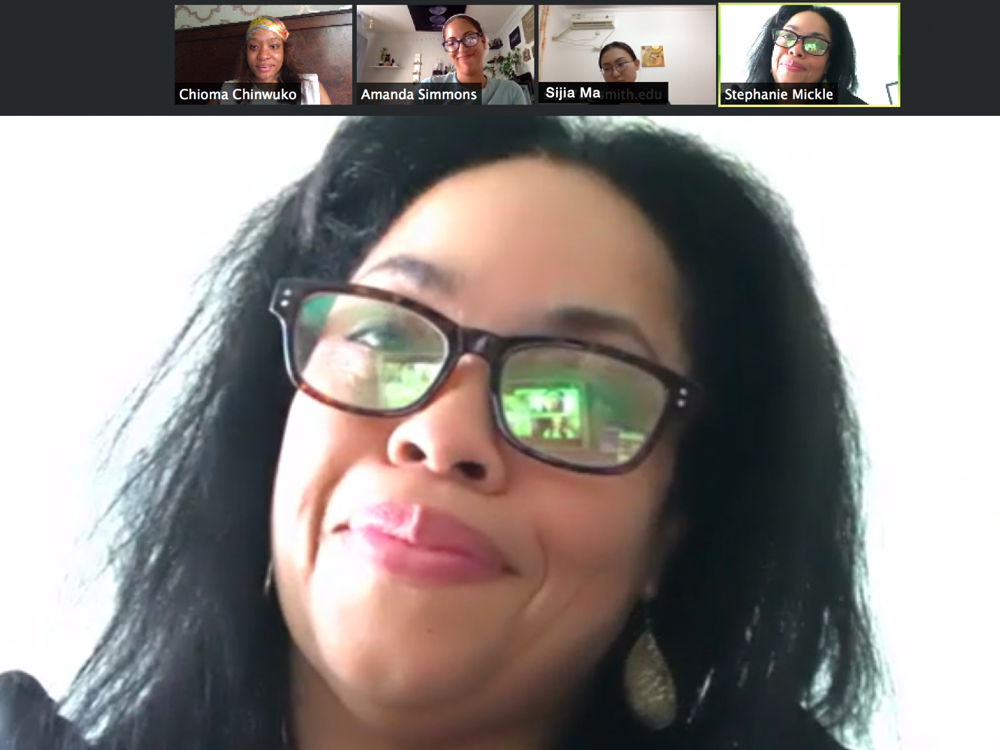 Stephanie Mickle, Chioma Chinwuko, Amanda Simmons, and Sijia Ma in a zoom meeting