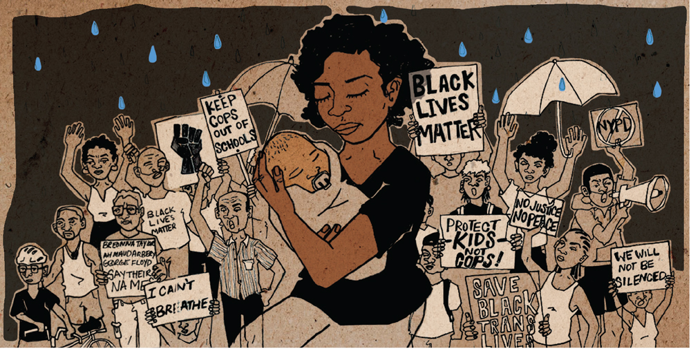 "A black mother holding a swaddled infant. Behind them is a crowd of people with Black Lives Matter, ""I Can't Breathe,"" and other signs"