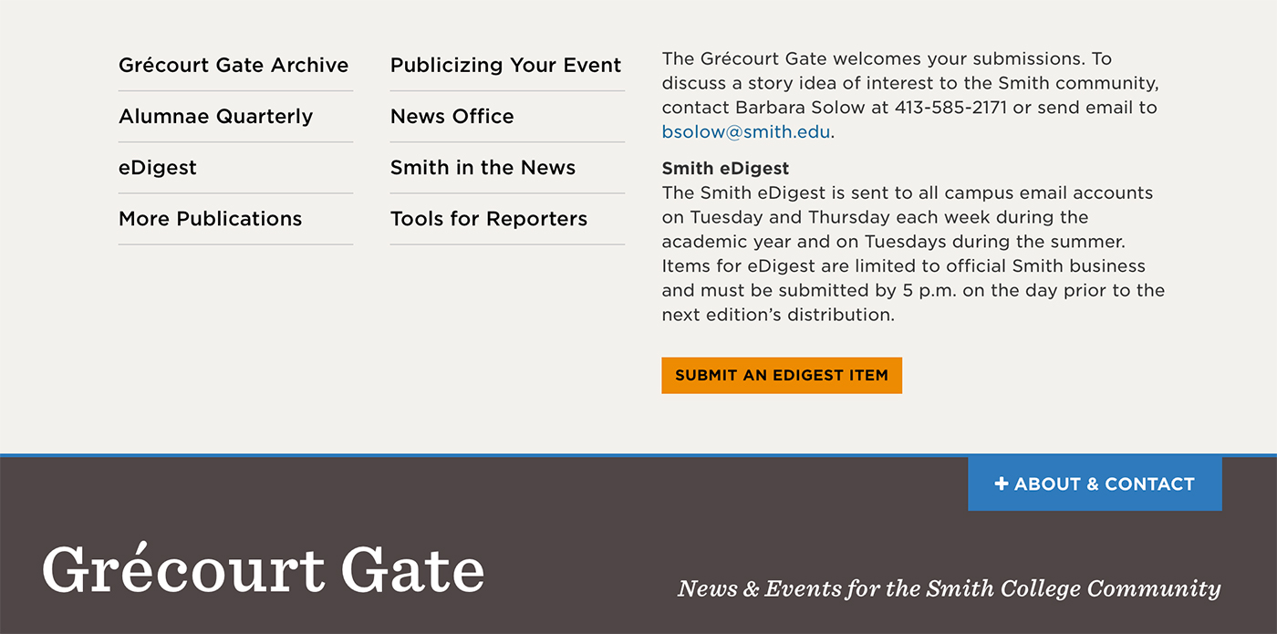 Screen shot of the Gate About + Contact drawer
