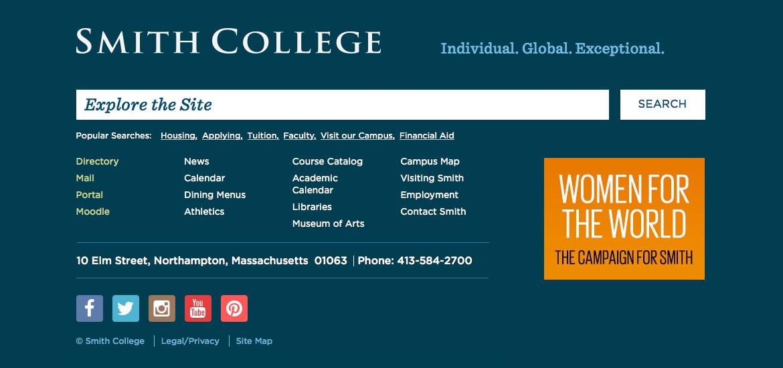 Screen shot of website footer