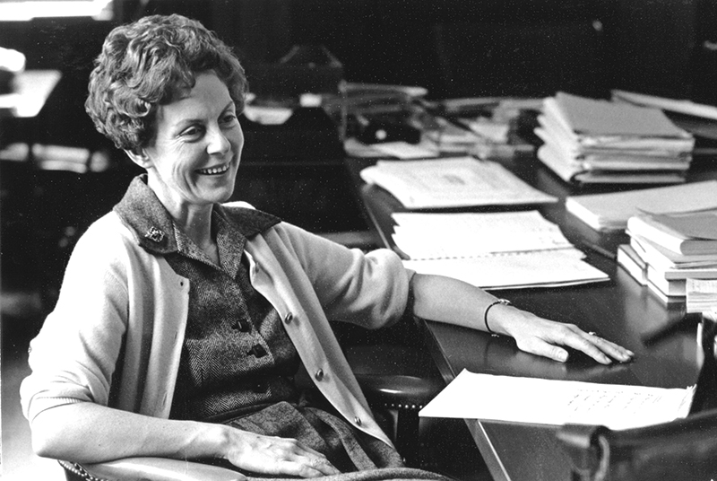Jill Conway photographed at her desk