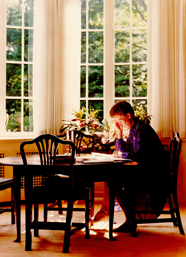 Jill Conway working in the president's house