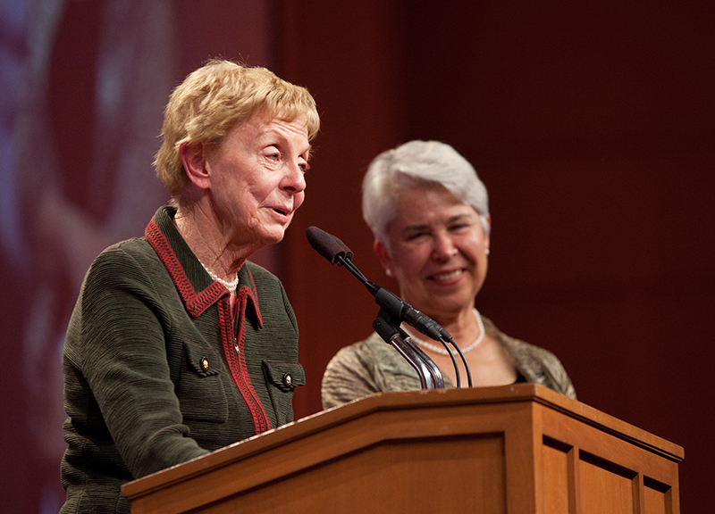 Jill Conway and Carol Christ at the campaign launch event