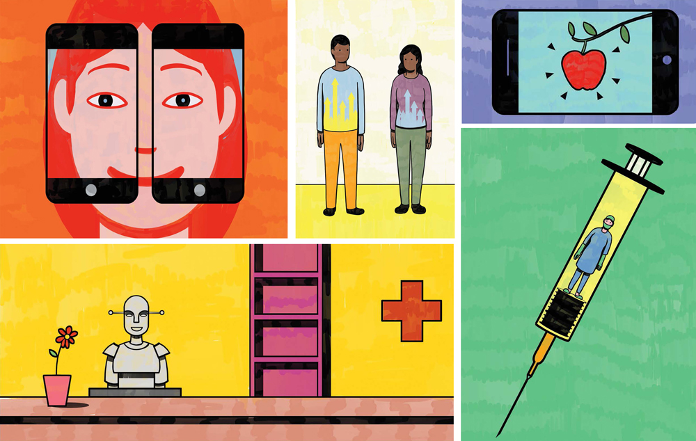 Collage of illustrations. Two smartphones magnify a person's face, two dark-skinned people stand next to each other with data graphs on their shirts, an apple is on a smartphone screen, a doctor is inside a test-tube, a robot nurse greets you.