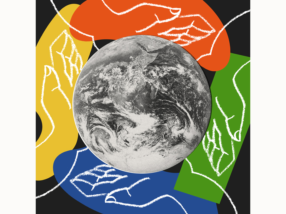 Illustration of a black and white globe surrounded by blue, green, yellow and orange swaths of color, on of top of which are chalk hand outlines.
