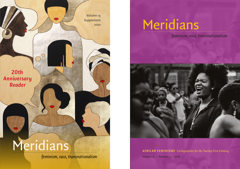 """Meridians covers for the 20th Anniversary reader and """"African Feminisms: Cartographies for the Twenty-First Century"""""""