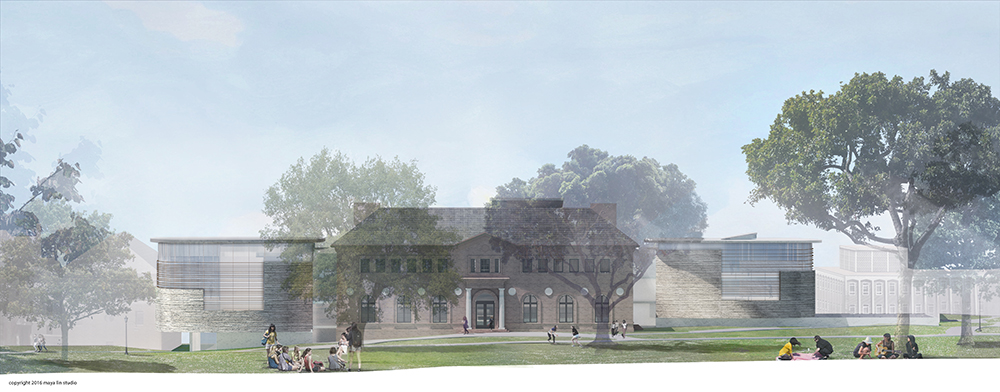 Illustration of the east elevation of the new Neilson Library
