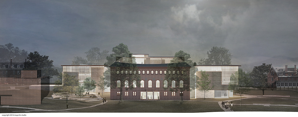 Illustration of the west elevation of the new Neilson Library