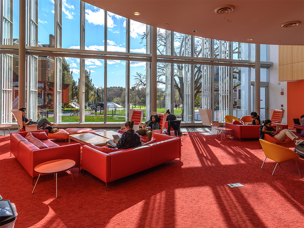 Students in the lounge in the campus center