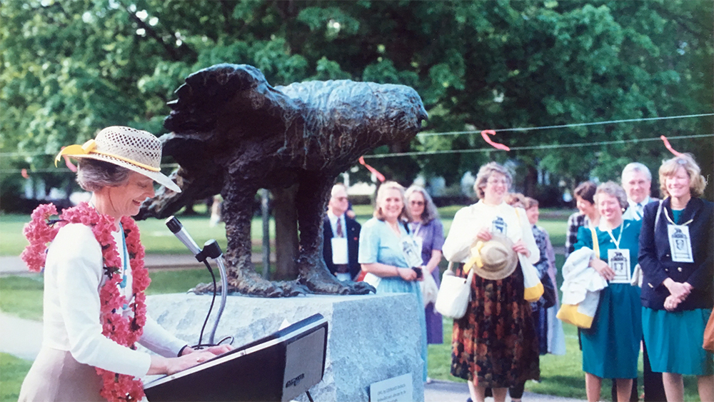 Ceremony outside of Wright Hall for the Baskin owl sculpture