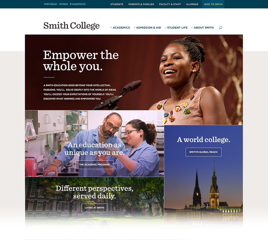 Screen shot of the top of the Smith.edu home page