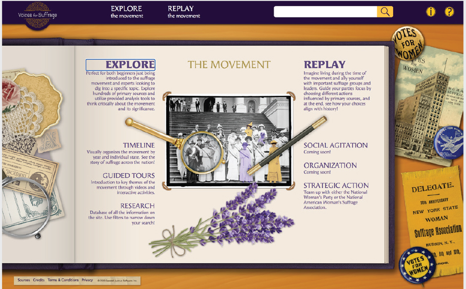 Screenshot of suffrage interactive ap. Two options shown: Explore the movement or Replay the movement