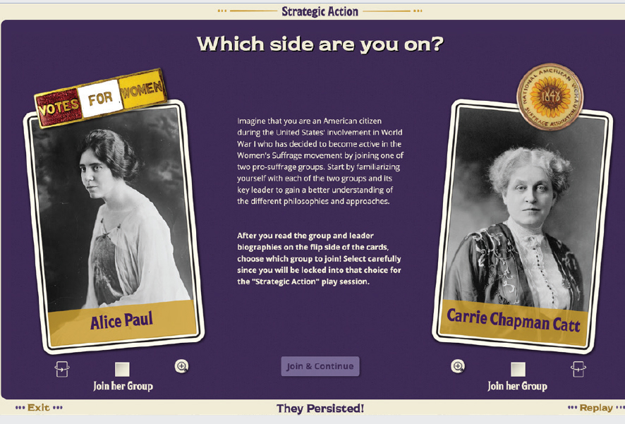 Screenshot of suffrage interactive ap. Which side are you on? Alice Paul or Carrie Chapman Catt