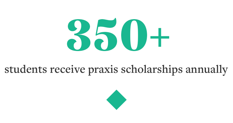 More than 350 students receive Praxis scholarships annually.