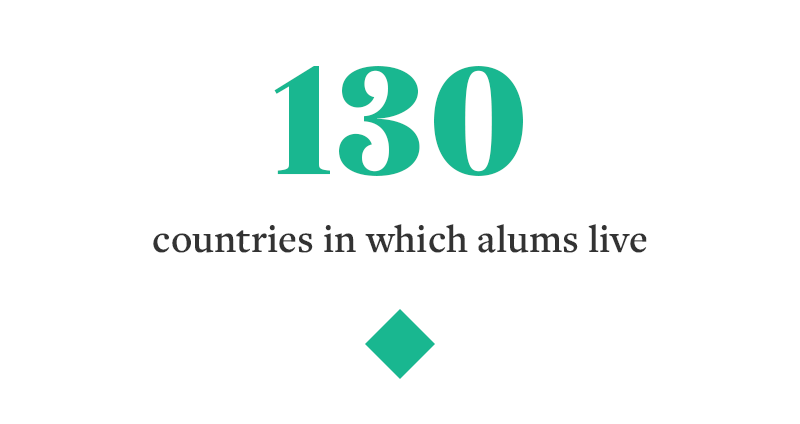 100+ countries in which alums live