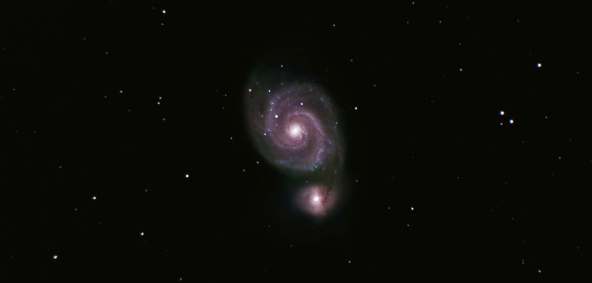 M51: Filters: V, R, I, C. Total Exposure Time: 300 mins