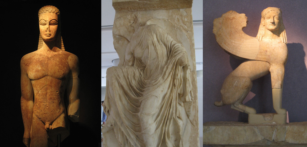 Triptych image of ancient statues