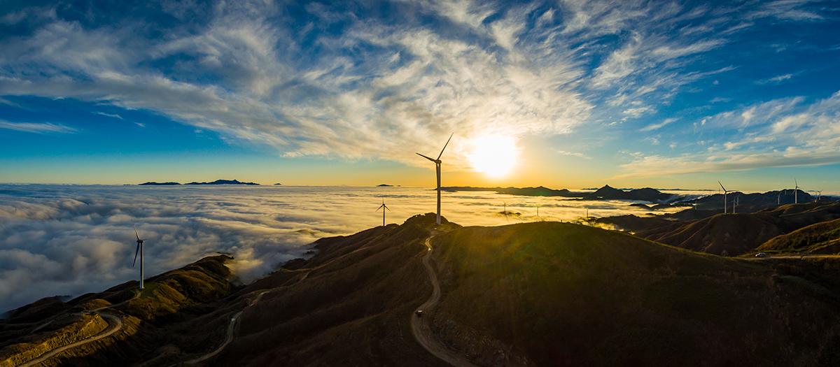 Wind turbines over vast landscape