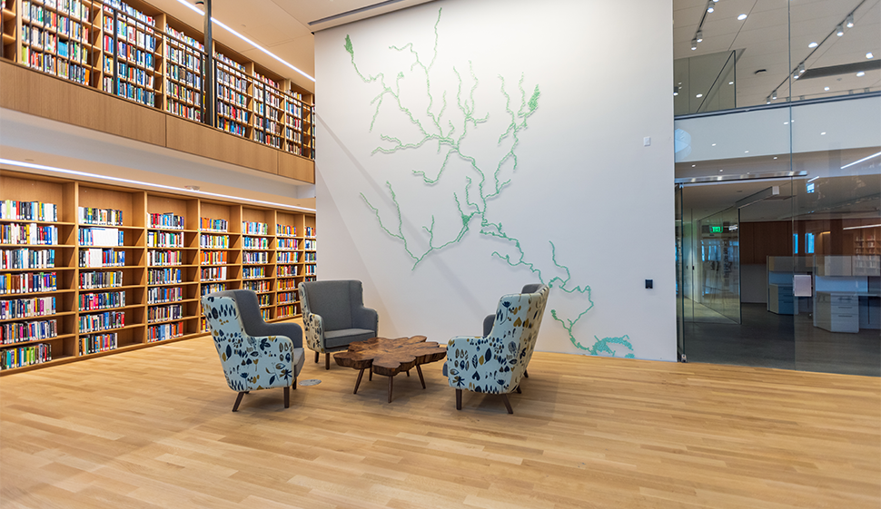 View of Maya Lin's original river-inspired artwork, created for Neilson library