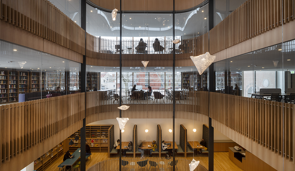 Wide interior shot of multiple levels of the library