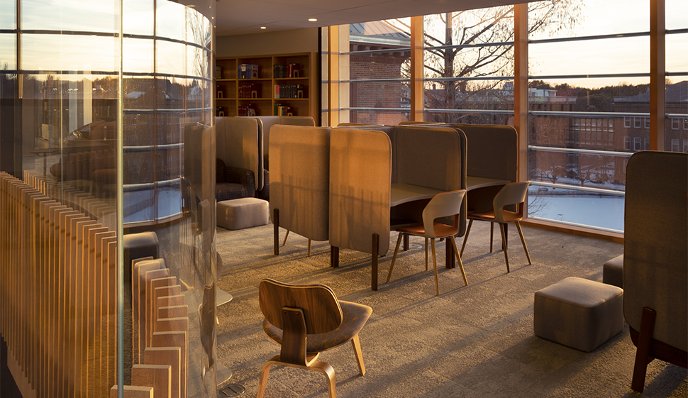 Desks and chairs in the new library space