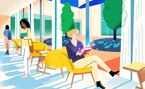 Graphic illustration of a woman sitting in the library reading a book by Yifan Wu for the fall 2021 SAQ