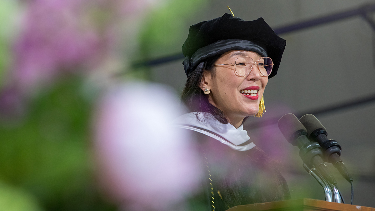 Ai-jen Poo speaking at Commencement