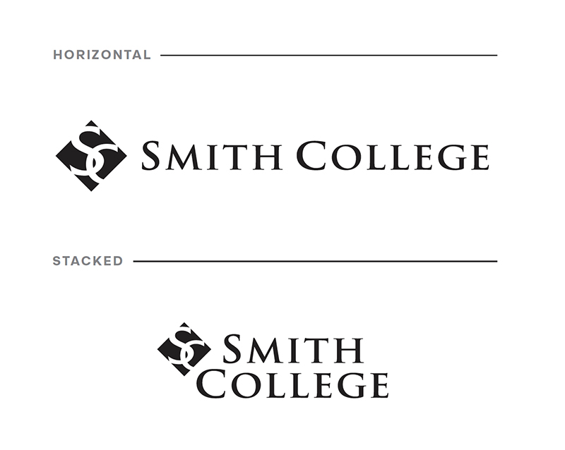Smith College formal logo, illustrating difference between horizontal and stacked lockups